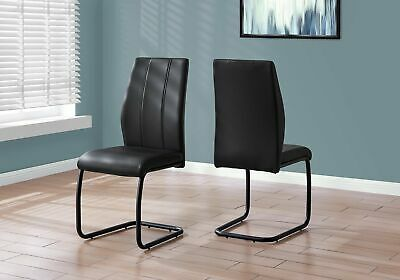 "Monarch Specialties I 1123 Dining Chair 2Pcs 39""H Black Leather-Look Metal"