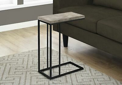Monarch Specialties I 3405 Accent Table Taupe Reclaimed Wood-Look Black Metal