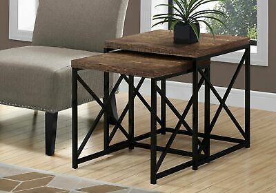 Monarch Specialties I 3413 Nesting Table 2Pcs Set Brown Reclaimed Wood Black