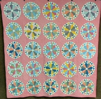 PA c 1930s Wheels of Fortune QUILT Vintage Quilt
