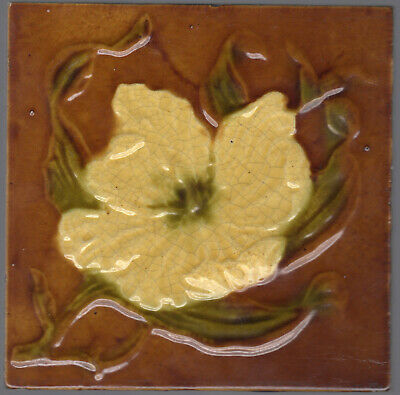 T & R Boote - c1895 - Yellow Flower - Antique Molded Majolica Tile