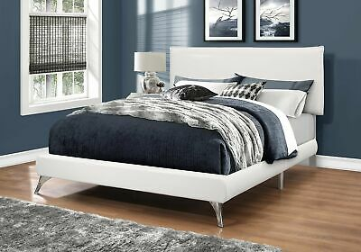 Monarch Specialties I 5953Q Bed Queen Size White Leather-Look With Chrome Legs