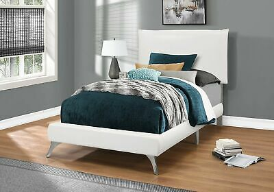 Monarch Specialties I 5953T Bed Twin Size White Leather-Look With Chrome Legs