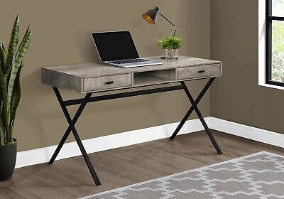 "Monarch Specialties I 7449 Computer Desk 48""L Taupe Reclaimed Wood Black Metal"