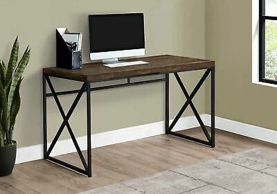 "Monarch Specialties I 7450 Computer Desk 48""L Brown Reclaimed Wood Black Metal"