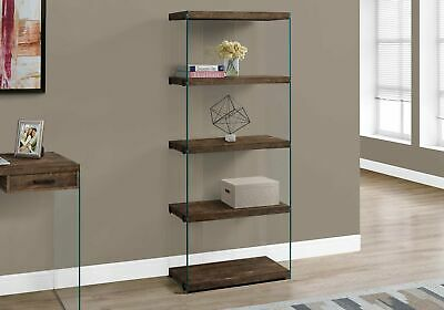 "Monarch Specialties I 7441 Bookcase 60""H Brown Reclaimed Wood-Look /Glass Panels"