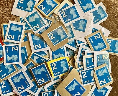 Superb 100 Unfranked Second 2nd Class Large Blue Security Stamps GB Kiloware