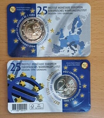 "2€X2 Belgium 2019 Coincard""Monetary Institute""(French version + German version)."