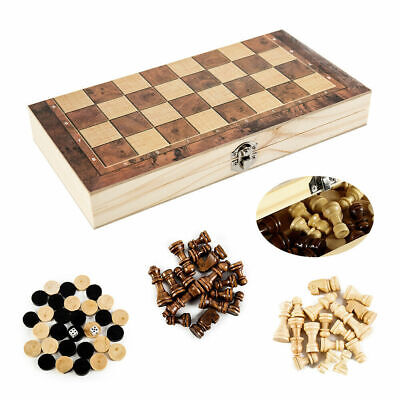 3in1 FOLDING WOODEN CHESS SET Board Game Checkers Backgammon Draughts Large