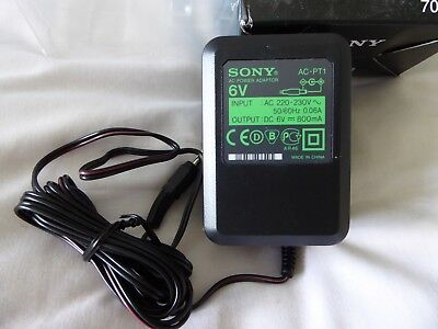 Geniuine 2-Pin Sony Ac-Pt1 Power Adaptor 6V 800Ma Input: Ac 220-230V - New Other