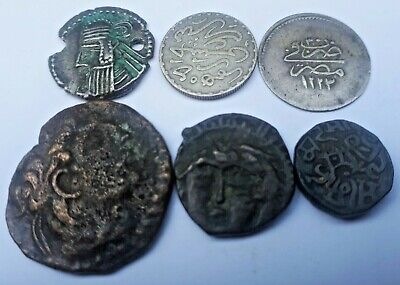 Lot of 6 Ancient/Medieval Islamic Coins Silver and Bronze
