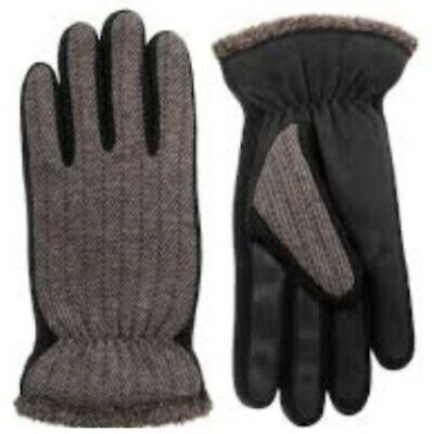 ISOTONER $50 Black Gray smarTOUCH SHERPA TWEED Touchscreen GLOVES Men XLarge XL