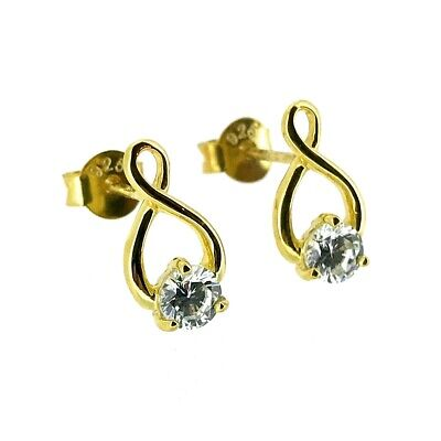 22ct Gold Plated Sterling Silver CZ Crystal Set Infinity Droper Stud Earrings