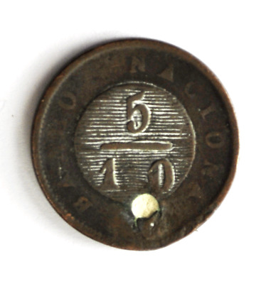 1831 Argentina Buenos Aires 5/10 Real KM# 3 Copper Coin