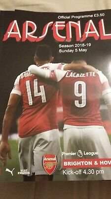 Arsenal v Brighton &Hove Albion -5/5/19, official matchday programme