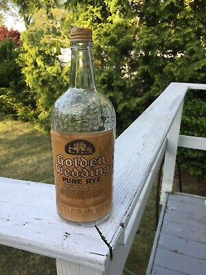 Antique and Rare Vintage Golden Wedding Pure Rye Whiskey Glass Bottle With Label