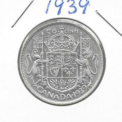 1939 Canadian 50 Cent Piece Silver (Very Nice)