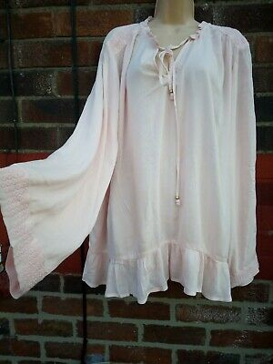4a0d06158b0d54 M&S Per Una blush pink Folk Gypsy Ruffle Smock peasant Blogger Blouse Top 20