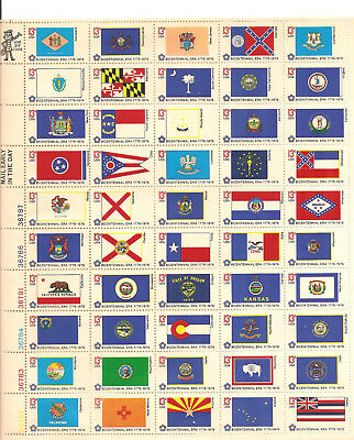 1976 US State Flags Postage Stamp Sheet Issue US #1633-82