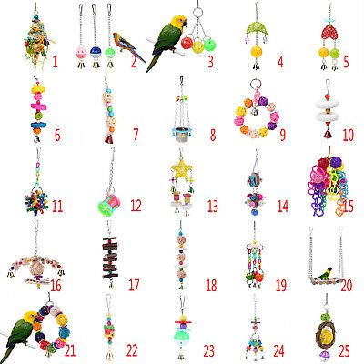 Pet Parrot Hanging Swing Bird Toy Harness Cage Toys Parakeet Cockatiel Budgie