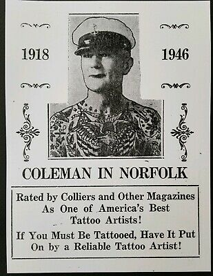 giclee print vintage tattoo business card cap capt. coleman flash norfolk 9x12