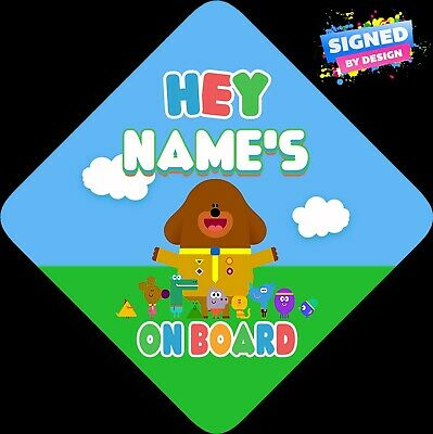 Hey Duggee Personalised Child/Baby on Board Car Sign New ~ Bright Colours ~ New
