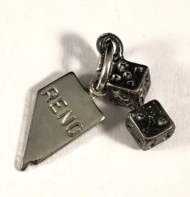 Fun Antique Vintage Sterling Silver 925 3D Pair Of Dice Gambling Charm!:)