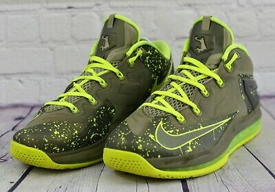 check out 62664 f2c66 Nike Lebron XI Low 642849-200 Men s Green Olive Volt Shoes Size 9