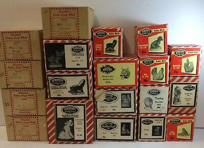 Antique/Vintage Bersted's Hobby-Craft Molds Lot Of 19 Misc Animal Rubber Molds