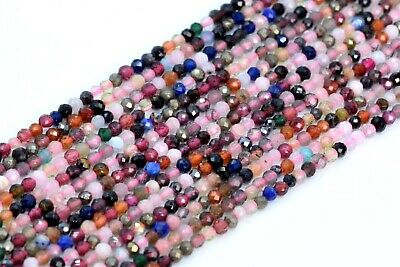 2MM Genuine Natural Multicolor Tourmaline Bead AA Faceted Round Loose Bead 14.5""
