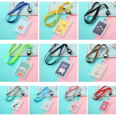 Plastic Bus ID Card Holder Case Badge Retractable Reel Neck Strap Lanyard