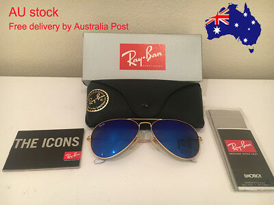 On Sale! RayBan Sunglasses Aviator Blue Mirror Lenses Gold Frames RB 3025 58mm