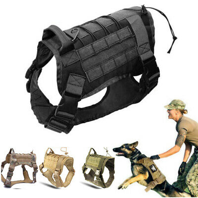 M/L Police K9 Tactical Training Dog Harness Military Adjustable Molle Nylon Vest