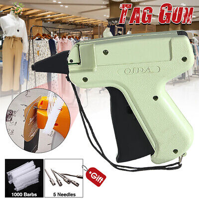 UK Clothes Tagging Gun +5 Steel Needle +1000 Kimble Tag Price Label System Barbs