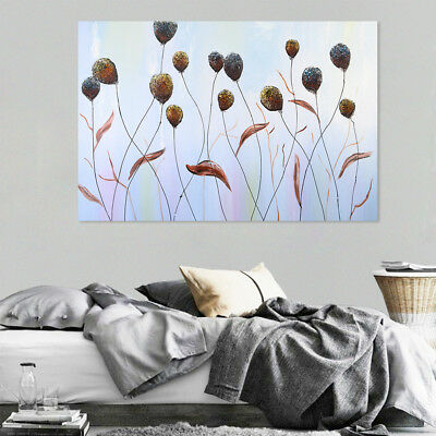 Hand Painted Framed Oil Painting Canvas Modern Wall Art Home Decor Reed Flowers