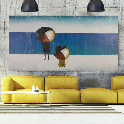 Modern Abstract Cartoon Seaside Hand Painted Art Oil Painting On Canvas (Framed)
