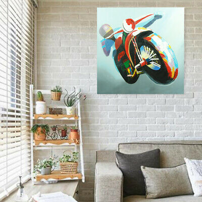 100% Hand Painted Canvas Oil Painting Wall Art Home Decor Framed Motorcycle