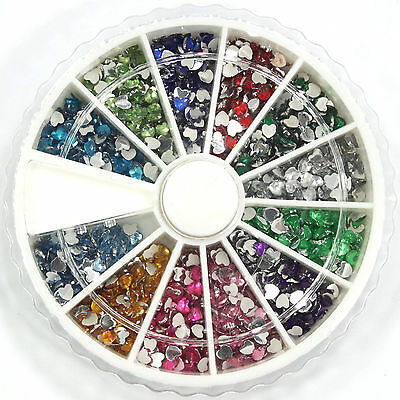 1800pc 12Color 3D Nail Art Tips Heart Gem Crystal Glitter Rhinestone