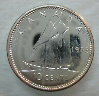 1963 Canada 10 Cents Proof-Like Silver Dime Coin
