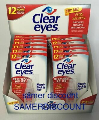 12 Pack Of Clear Eyes Drops Redness Relief 0.2 Oz.6 Ml Exp (2021)Up To 12 Hours