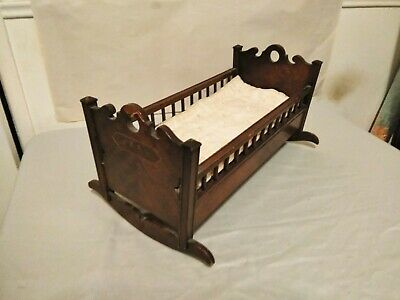 Antique Victorian Wood Crib Bed, Doll Cradle, Salesman Sample?