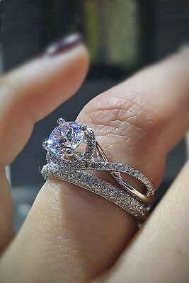 Gorgeous Round White Sapphire Wedding Ring 925 Silver Engagement Promise Jewelry