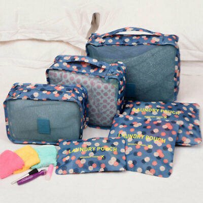 6Pcs Waterproof Travel Storage Bags Luggage Organizer  Pouch Clothes Packing