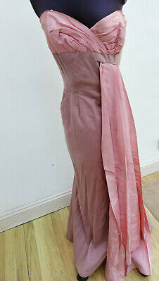 Art Deco 1930's silk wool mauve evening dress with dusky pink taffeta detail.