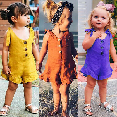 AU Toddler Kids Baby Girl Summer Clothes Ruffle Romper Jumpsuit Overalls Outfits