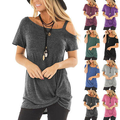 Womens Cold Shoulder T-Shirt Ladies Summer Casual Short Sleeve Tee Tops Blousev