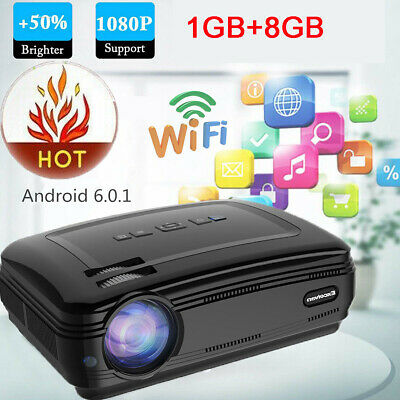 Android 6.0.1 3000:1 LED Proyector Red&Blue 3D 1080P WiFi Protable 1+8GB ATV