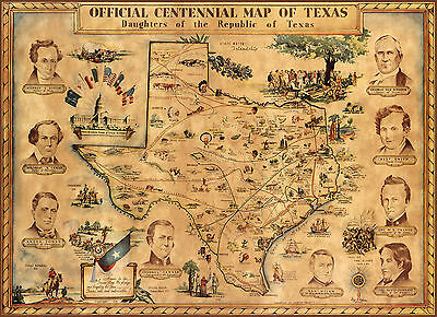 1934 Pictorial Centennial Map of Texas Revolution Historic Wall Art Poster Decor