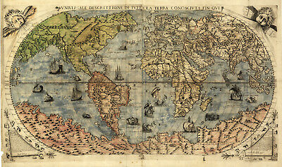 Historic Exploration 1565 World Map Decorative Print Terra Wall Art Poster Decor