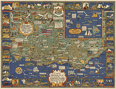 1927 Pictorial Map Honolulu Sandwich Islands Hawaiian Hawaii Wall Art Poster